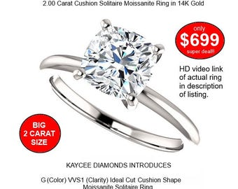 14K Gold 2.00 Carat (7.5mm) G (color) VVS1 (clarity) Cushion Moissanite Solitaire Ring