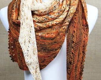 Fade statement scarf, gift for gals, merino wool scarf, XL asymmetrical openwork triangle scarf, burnt orange speckled, multicolored scarf