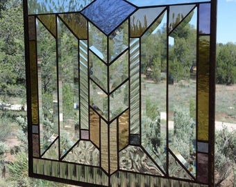 "stained glass window panel, ""THE ARROW""craftsman stained glass,FLW stained glass, arts & crafts stained glass,beveled glass,suncatcher,"