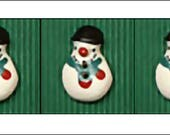 3 Snowman Buttons, festive buttons, Handmade Fair Trade Ceramic Buttons, Incomparable Buttons, knitting, sewing, crafts, UK seller, Xmas