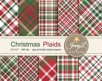 50% OFF Christmas Plaids Digital Papers, traditional Christmas Papers, Holiday Digital ScrapbookingPaper, Red and Green Christmas