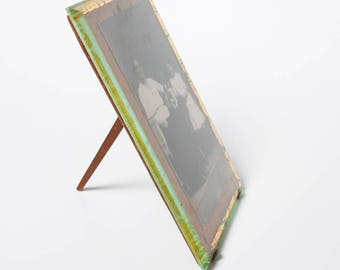 Antique photo Frame, wooden frame with glass, 1900-1930s Art Nouveau