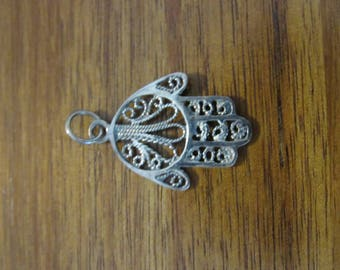 Sterling Silver Hamsa Pendant for Necklace Charm