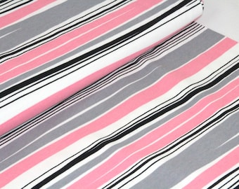 Organic Cotton Jersey Fabric | Paapii | Waves Grey and Pink