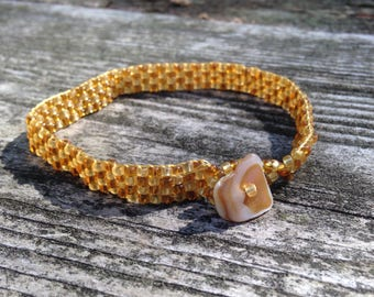 Yellow and Amber Seed Bead Bracelet