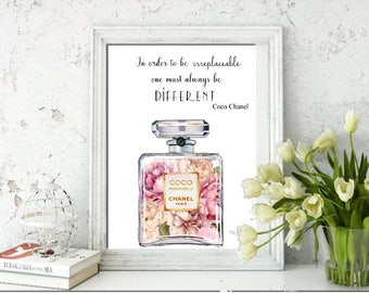 Glossy Print of Chanel Bottle Watercolour with flowers & Quote A4 In order to be irreplacable one must always be different - Unframed