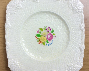 Pretty vintage square plate, lace embossed ceramic with floral central motif, by Royal Cauldon England