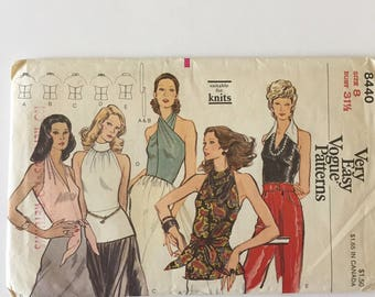 Vintage Vogue Pattern 8440 Woman's Knit Halter Top - Uncut