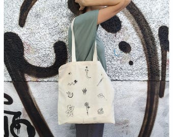 Screen printed tote, Tote purse, illustration bag, beach tote, funny tote bag, for her, for him, Market bag, Grocery bag, Screen printed bag