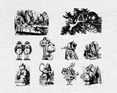 Alice in Wonderland Printable Clipart, Digital Stamps for Scrapbooking and Cardmaking