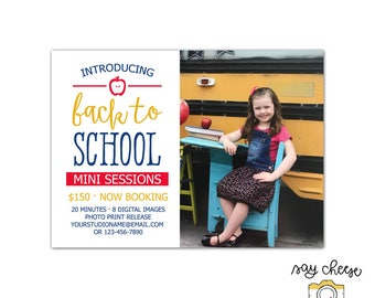 5x7 Back to School Mini Session Template, Marketing Board, Photography Marketing Template, Mini Session Marketing, Photography Branding M-14