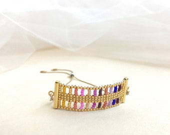 Beadwoven Adjustable Gold Chain Bracelet in Pink Multicolor Lattice