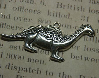 Large silver 28x63mm dinosaur charm