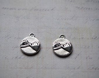 2 round Medallion charms fraternity metal silver 14.5 mm