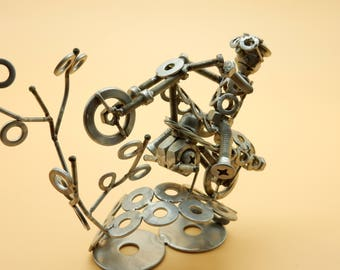 motocross track motocross motocross MX motocross racing motocross gift gift sculpture sculpture bolts Art metal art of recycling