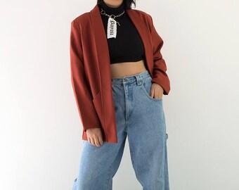 90s Deep Rust Open Blazer / Fold Over Lapel Jacket / Medium-XLarge