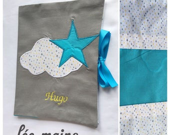 Star and cloud grey and turquoise blue personalized health book