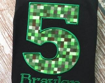 Custom embroidered pixel birthday shirt