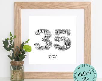 35th ANNIVERSARY Gift - Word Art - Printable Gift - 35 Year Anniversary - 35th Wedding Anniversary - Coral Anniversary - Personalised Gifts
