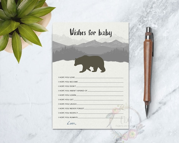 Wishes For Baby Showers ~ Printable baby wishes game bear rustic baby shower forest diy