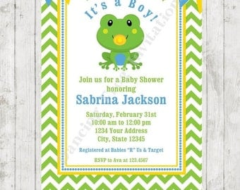 SALE Frog Baby Shower Invitations - Printed Frog Baby Shower Invitation by Dancing Frog Invitations