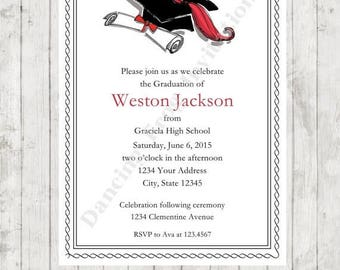 SALE Graduation Announcement Invitation (Any Color) - Printed Graduation Invitation by Dancing Frog Invitations