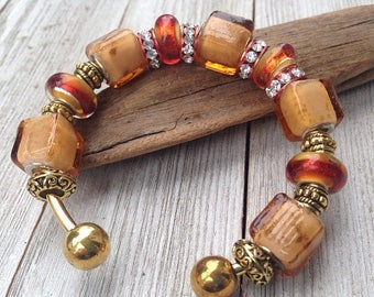 ON SALE Murano Glass Cuff Bracelet, Amber Beads, Earth Tones, Boho Chic, Gift for Her, Adjustable Jewelry, Gold Plated, Brown Beads, Square