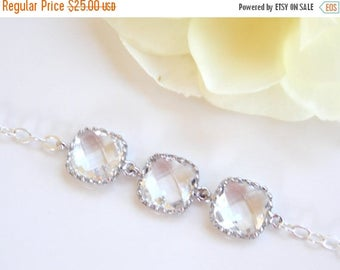 SALE Wedding Jewelry, Clear Bracelet, Crystal, Glass, Sterling Silver Bracelet, Bridesmaid Jewelry, Bridesmaid Bracelet, Bridesmaids Gifts,