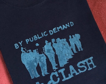 """Mens silkscreened navy blue extra large """"The Clash"""" t-shirt, 100% cotton, Rock on!"""