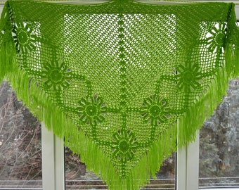 Length - top 200 cm, hand knit crochet shawl wrap - triangle shape, Russian shawl vintage style   f1.77