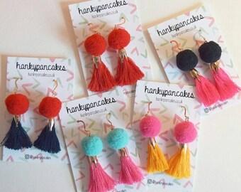 Pompom Tassel Earrings