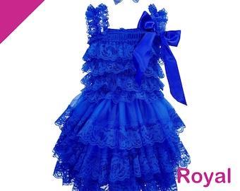 Royal Blue - Flower Girl Dress - Lace Flower girl dress - Baby Lace Dress - Rustic - Flower Girl dress- Lace Dress - with Matching Headband