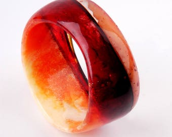 resin bangle, diameter 2,55 in / 6,5 cm, marbled Orange and Red