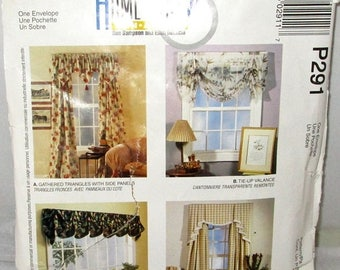 ON SALE - Will Ship 7/10 McCALL'S #3210 P291 Curtains Home Dec In A Sec Gathered Triangles w/Side Panels, Tie-up Valance, Fluted Valance, Ca