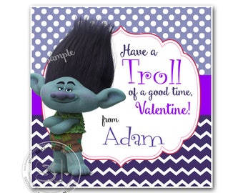 "Valentine Troll 2.5"" Printable Tags-Happy Valentines Personalized-Branch Troll Valentine Printable Tag (You Print) 2.5"" tags-Digital File"