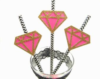 Bachelorette Straws, Diamond Straws, Pink, Black and Gold Straws, Hen Party, Bachelorette Decorations, Engagement Party Decor