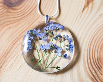 Flower resin pendant, sterling silver, forget me not neckleace