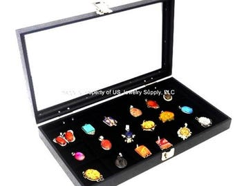 Key Lock Locking Glass Top Lid 18 Space Organizer Display Box Case Brooch Pins Medals Pocket Watch Pick Black Red or White Liner