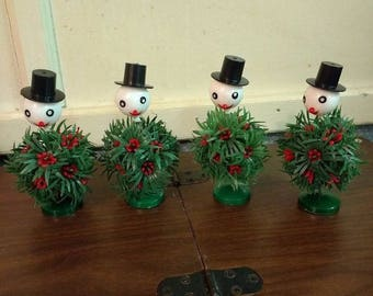 Set of 4 Vintage Hard Plastic Snowman Decorations