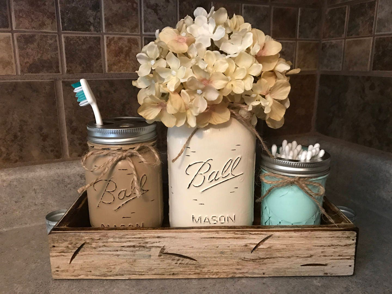 MASON Jar Bathroom SET in Antique White TRAY, Toothbrush Holder, Quart Ball  Vase, Mini Q-Tip Jars Painted Distressed Counter Decor Silver