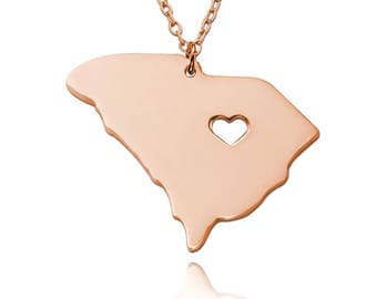South Carolina State Necklace,Rose Gold SC State Necklace,Custom State Necklace,State Heart Necklace,Personalized Map Necklace,Map Jewelry