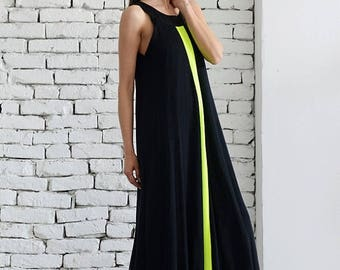 SALE Maxi Black Dress / Loose Woman Dress / Neon Line Dress / Kaftan / Plus Size Maxi Dress / Black Maxi Dress/ Oversize Long Dress/ Evening