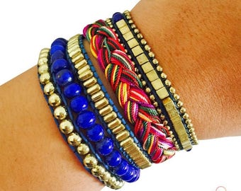 SALE Fitbit Bracelet for Fitbit Flex or Flex 2 Activity Trackers - The ROSIE Royal Blue Beaded, Braided Layered Snap Fitbit Bracelet - FREE