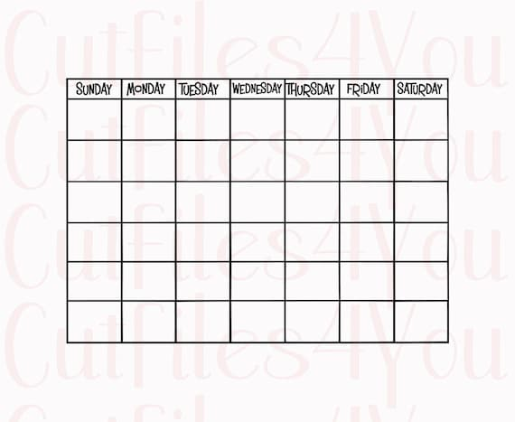 Reusable Monthly Calendar : Monthly calendar with days reusable