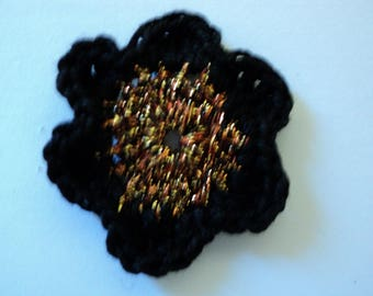 SET of 10 flowers in black and gold CROCHET for SCRAPBOOKING