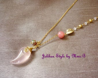"Pink ""Curve"" with a jade pendant gold necklace"