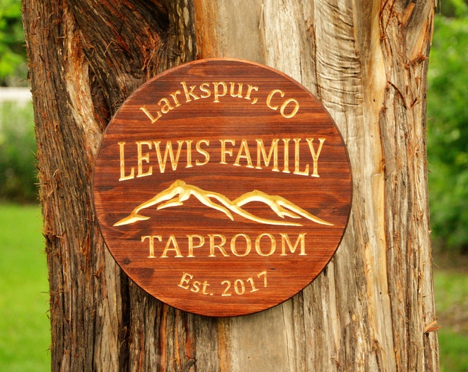 Man Cave Sign Decoration Bar Sign Mountain Sign Beer Bar Taproom Craft Beer Gifts Beer Sign Mountain Gift Bar Name Man Cave Tavern Sign
