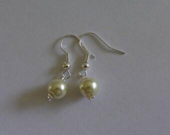 earring hangs Ivory Pearl wedding