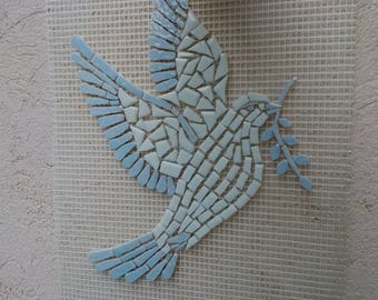 Dove White and blue glass mosaic