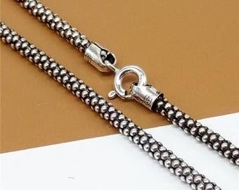 Sterling Silver Popcorn Chain Necklace, Popcorn Necklace Chain, 925 Silver Popcorn Chain 2.5mm 18 20 22 24 26 28 30 32 Inches - HY999